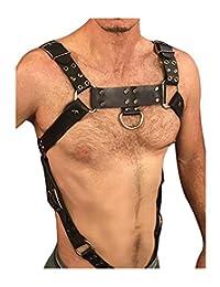 L'vow Men Sexy Black Leather Restrain Body Chest Harness Adjustable Straps