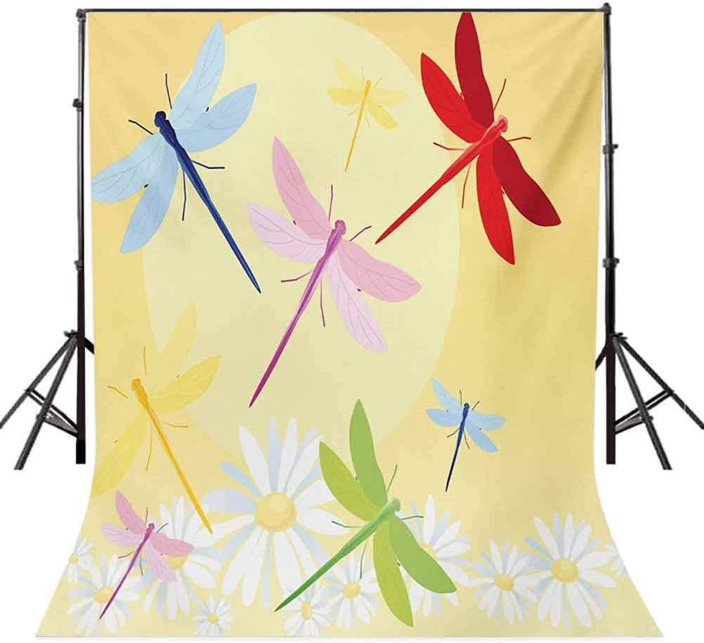 6.5x10 FT Backdrop Photographers,Flower Field in Spring Season with Chamomiles Sun Figure on The Back Graphic Background for Baby Shower Birthday Wedding Bridal Shower Party Decoration Photo Studio