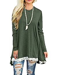 Women's Lace Long Sleeve & Sleeveless Tunic Tops Blouse Round Neck Shirt Tunic Tops For Leggings
