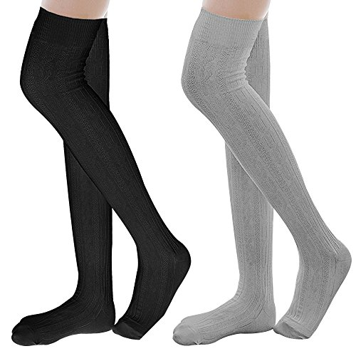 Ordenado Womens Spring Sexy Over Knee Leg Warmer Crochet Thigh High Boot Socks Girls Leggings