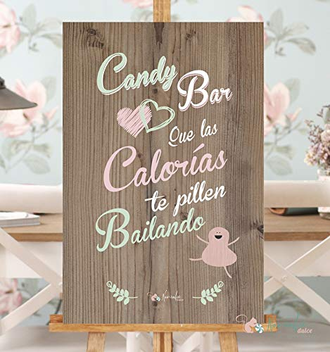 Noviembre Dulce Cartel Candy Bar Verde y Rosa (90x60 ...