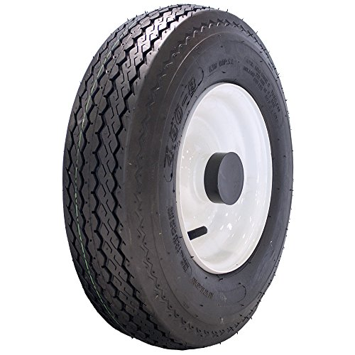 MARASTAR 4.80-8 LRB Bias Trailer Tire Mounted on White Solid Wheel with 1