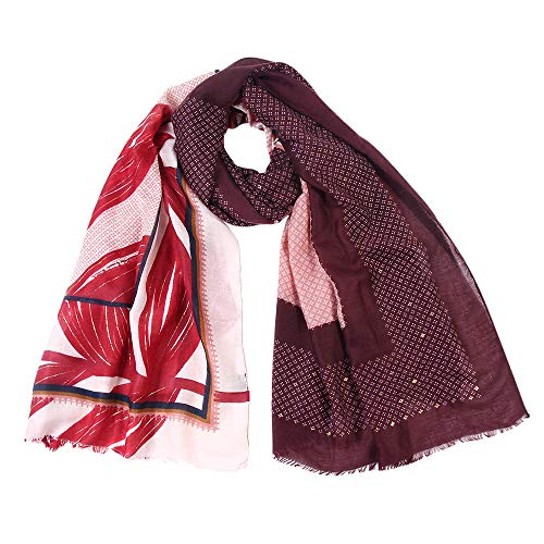 Winter Warm Scarf,Women Maple Leaves Printed Shawls Long Wrap Scarf,For Casual,Travel,Ladeis,Girls (Wine Red)