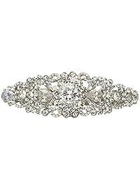 Ever Faith Silver-Tone Austrian Crystal CZ Wedding Art Deco Flower Vine Hair Barrette Clip Clear N05546-1