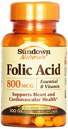 500 Mcg Folic Acid (Sundown Naturals Folic Acid 800 mcg Tabs, 100)