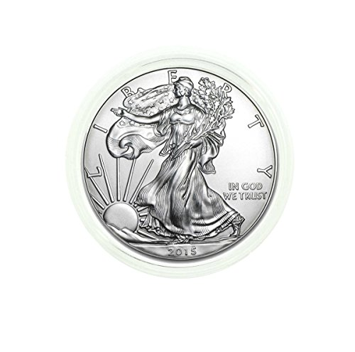 2015-1 oz American Silver Eagle in Direct Fit Air Tite with our Certificate of Authenticity Dollar Uncirculated Us Mint ()