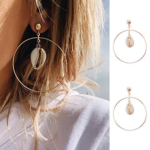 lightclub Golden Gold Beach Vocation Holiday Boho Hollow Big Large Circle Cowrie Shell Drop Statement Stud Earrings Women Beach Jewelry Golden
