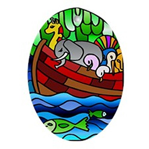 CafePress - Noah's Ark Stained Glass - Oval Holiday Christmas Ornament