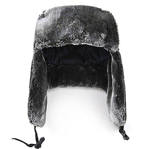 Xerhnan Unisex Russian winter Hat Nylon Shell Windproof/lambswool(Black)