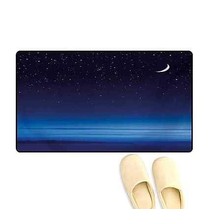 Amazon com: Bath Mat,Moon and Stars Over Santa Barbara Channel