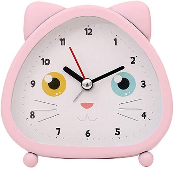 S.W.H Niños Niñas Gato Rosa Reloj Despertador Simple Batería Silencioso Pequeño Además de Relojes de Dibujos Animados Creativos 4 Pulgadas