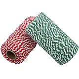 656 Feet Cotton Baker's Twine Spool 10 Ply,Crafts Twine String for DIY Crafts and Gift Wrapping (Green and Red)