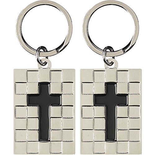 Chrome Cross Ring - Cross Chrome Silver Plated Metal Pendant Key Ring Keychain