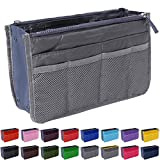 Handbag Organizer by Gaudy Guru - Insert Purse Organizer - Bag in Bag - 13 Pockets - Multiple Colors (Grey)