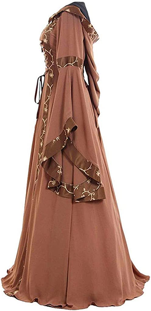 Women Vintage Hooded Dress Medievl Patchwork Lace up Renaissance Gothic Costoms Gothic Cosplay Clothes Gowns
