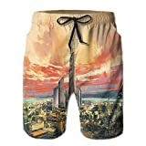 Richard Lyons Modern City By The Harbor With Sailing Yacht Skyscrapers Artsy Painting Style Men's Quick Dry Beach Shorts Casual Comfortable Surf Shorts XL