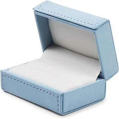 Oirlv Caja de anillos dobles de cuero azul Anillos de pareja ...