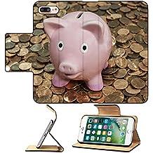 MSD Premium Apple iPhone 7 Plus Flip Pu Leather Wallet Case Vintage piggy bank sitting on large penny pile IMAGE 19986130