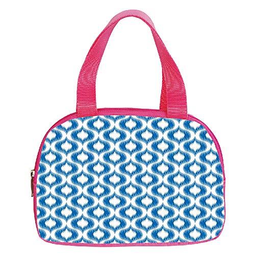 Ellington Vintage Tote - iPrint Increase Capacity Small Handbag Pink,Ikat Decor,Damask Ikat Style Ethnic Pattern Ethnic Elegant Vintage Mesh Motifs and Shapes Decorative,Blue White,for Girls,3D Print Design.6.3