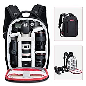 """Camera Backpack, Beschoi Waterproof Lightweight DSLR Camera Bag for Canon Nikon Sony DSLR Camera, Speedlite Flash, Tripod, Camera Lens and Accessories, Size 13 x 9.8 x 5.5"""""""