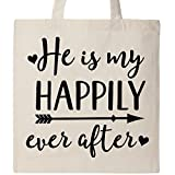 Inktastic Couples Hes My Happily Ever After Wife Gift Tote Bag Natural