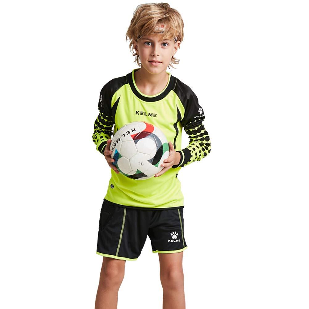 Kelme Football Goalkeeper Long-Sleeve Suit Soccer Jersey Set (Yellow/Black, Kids-140cm)