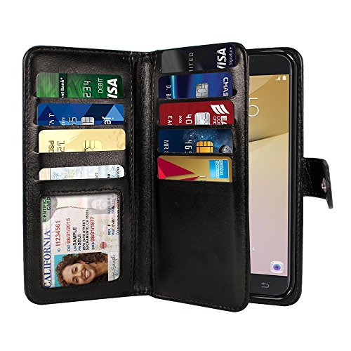 Double Wallet Flap (NEXTKIN Galaxy On7 2016 Case, Leather Dual Wallet Folio TPU Cover, 2 Large Pockets Double flap Privacy, Multi Card Slots Snap Button Strap For Samsung Galaxy On7 2016/On Nxt/J7 Prime G610 - Black)