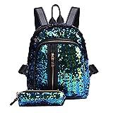 Morrivoe Fashion Women Girl Sequins School Bag Zipper Backpack Travel Shoulder Bag+Clutch Wallet (Sky Blue)