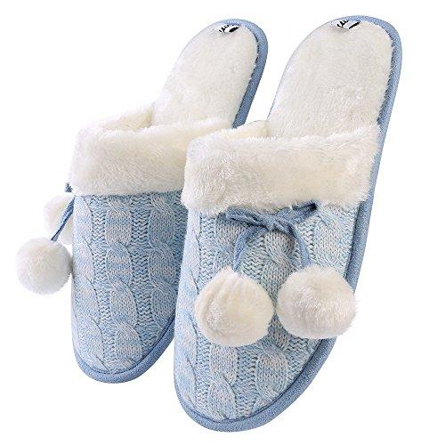 Pom Women's Blue Knitted on Ice Slip Home Anti Rubber Slippers Pom Bottom Slip BOZdq5