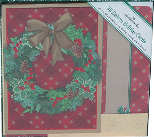 Deluxe Wreath - Hallmark Deluxe Wreath Holiday Cards 35 w/Self-sealing Envelopes Green/Gold/Red