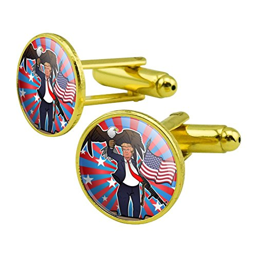 GRAPHICS & MORE Patriotic Donald Trump with Eagle American Flag Gun Round Cufflink Set Gold Color