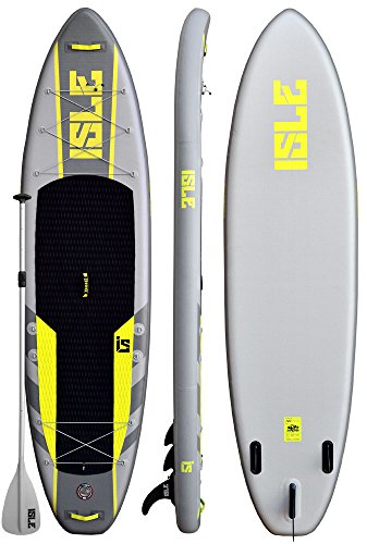 ISLE 11' Airtech Inflatable Explorer Stand Up Paddle Board (6'' Thick) iSUP Package | Includes Adjustable Travel Paddle, Carrying Bag, Pump by ISLE Surf and SUP (Image #2)