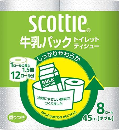 スコッティ 牛乳パック トイレット8ロール 45mダブル