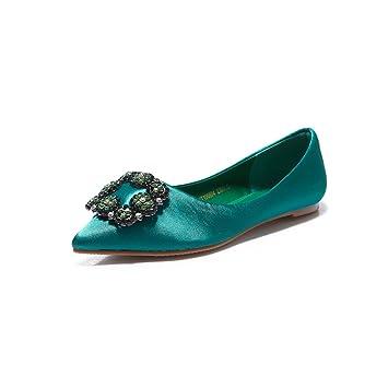 YQQ Zapatos De Boda Zapatos De Novia Zapatos Femeninos Sandalias De Verano Tacones Bajos Zapatos Planos