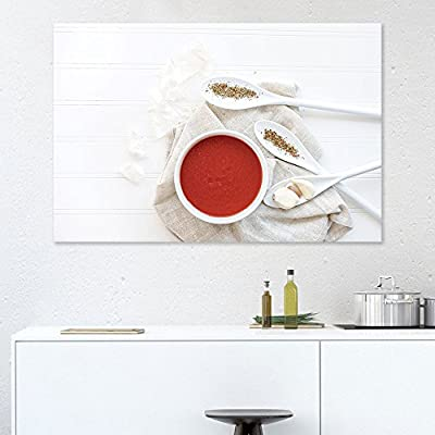 Canvas Wall Art - Spoons of Seasonings on White Table - Giclee Print Gallery Wrap Modern Home Art Ready to Hang - 12x18 inches