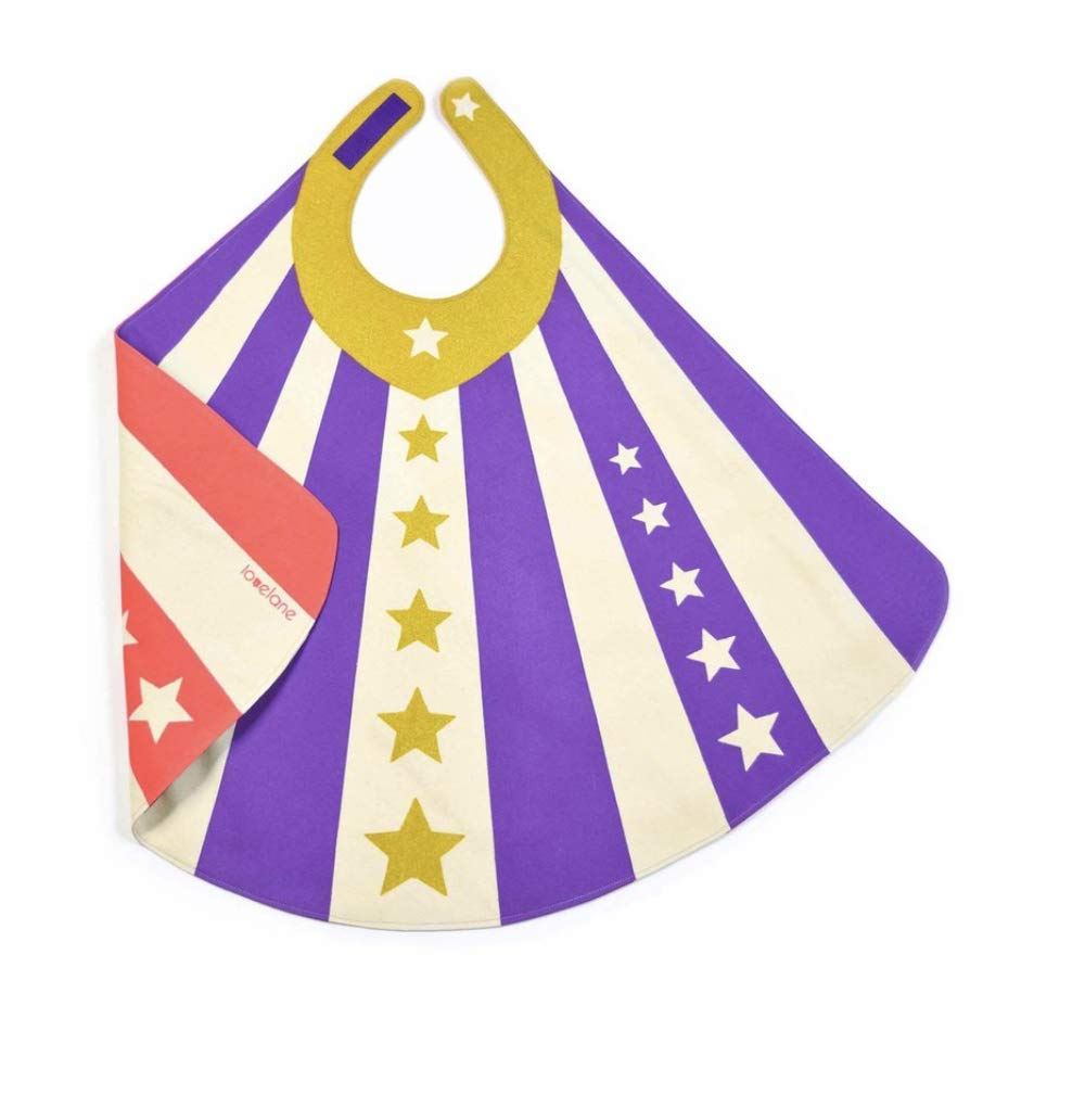 Purple Striped Reversible Superhero Cape with Gold Stars