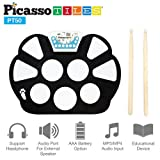 PicassoTiles PT50 Flexible Roll-Up Educational Electronic Digital Music Drum Kit w/ Recording Feature, 7 Different Drum Styles, 9 Different Rhythm Songs, Headphone/Speaker Required for Use- Blue