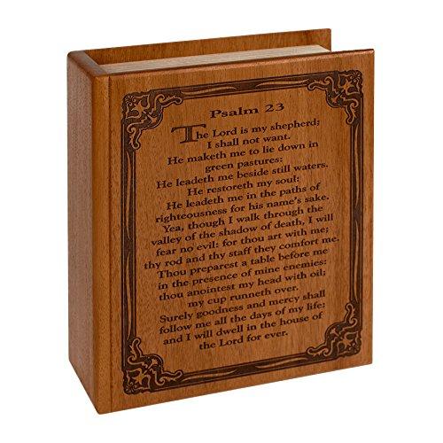 Wood Cremation Urn - Mahogany Bible Psalm 23