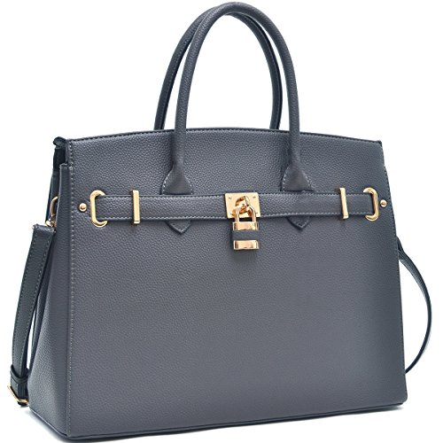 Dasein Women's Top Handle Satchel Handbags Designer Tote Purse Shoulder Bag Faux Leather Padlock Briefcase Laptop Bag (2731 - (Belted Laptop Tote)