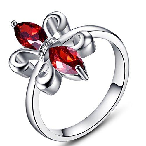 Narica Women's Elegant 4mmx8mm Marquise Flower Shaped Garnet CZ Engagement Ring Band