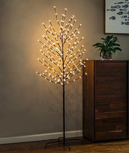 Lit Crystal Artificial Christmas Tree - Twinkle Star 6 Feet 208 LED Cherry Blossom Tree Light for Home Festival Party Wedding Indoor Outdoor Christmas Decoration, Warm White (1 Pack)