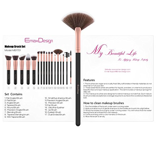 EmaxDesign Makeup Brushes 17 Pieces Premium Synthetic Foundation Brush Powder Blending Blush Concealer Eye Face Liquid Powder Cream Cosmetics Brushes Kit (Rose Gold) by EmaxDesign (Image #6)