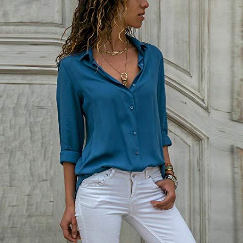 Longues Holywin Bleu Uni Manches Chemisier Femme wffxO0q6r