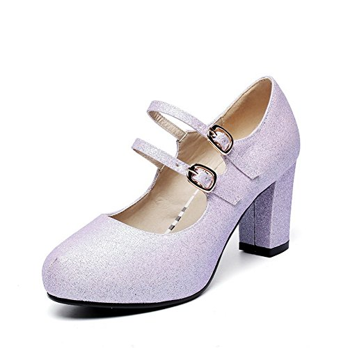 BalaMasa Womens Chunky Heels Double Breasted Low-Cut Uppers Lightpurple Imitated Leather Pumps-Shoes - 4.5 B(M) US -