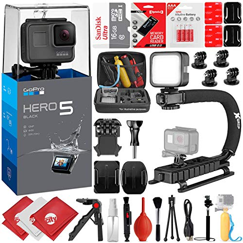 GoPro HERO5 Black 4K 12MP Digital Camcorder w/ 16GB - 30PC Sports Action Bundle (16GB Micro SD, Card Reader, 4PC Curved Adhesive Mount, High Power LED Light, X-Grip Stabilizing Handle & More)