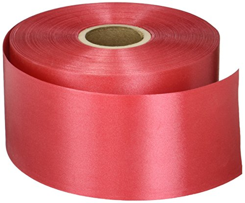 Red Embossed Poly Satin Ribbon, 2-3/4