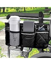 [Upgraded] Rolstoel tas met zakken - rolstoel bekerhouder, universele waterdichte zijtas voor elektrische rolstoel, mobiliteit scooter, accessoires, zwart