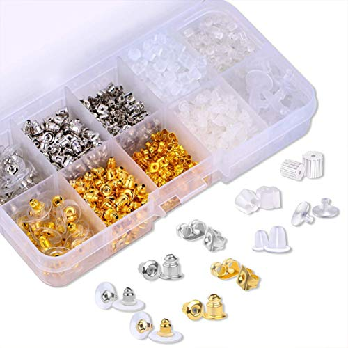 Artilife 1040pcs 10 Styles Earring Backs for Safety Rubber Metal Bullet Clutch Earring Stoppers Backs