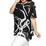 Blouses,Women Short Sleeves Tunic Shirts Casual Scoop Neck Floral Irregular Hem Tops (Black, XXXL)