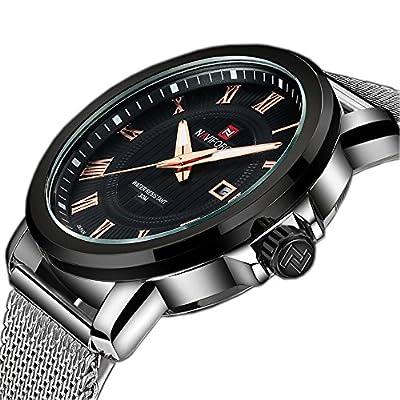 Tamlee Fashion Mens Quartz Watches Stainless Steel Strap Waterproof Round Dial Silver Black